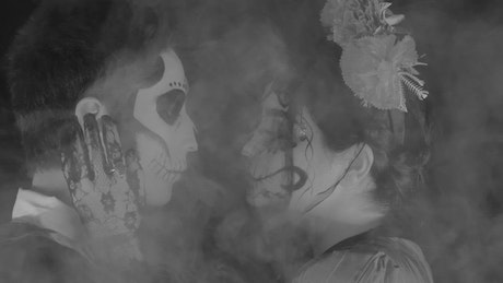 Catrin and catrina of the day of the dead face to face