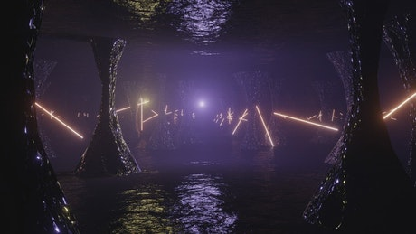 Cave of an alien planet with purple neon lights