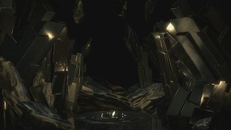 Cave with golden metallic minerals