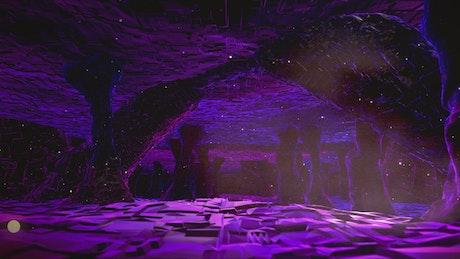 Cavern in purple tones, 3D animation