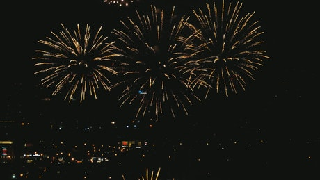 Celebration with fireworks in the city