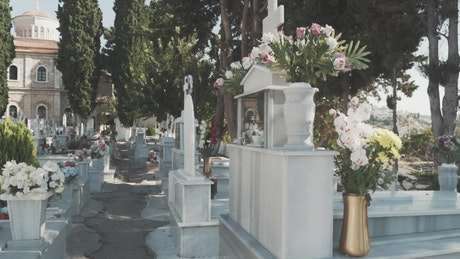 Cemetery with marble tombs