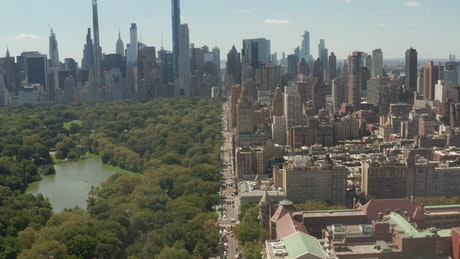 Central Park in New York seen from a drone