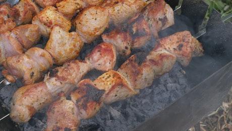 Charcoal meat skewers
