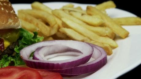 Cheeseburger with ketchup