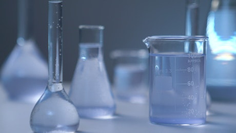 Chemical flasks on a table