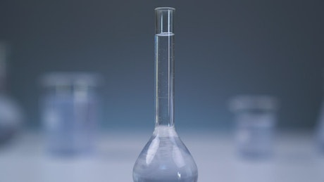 Chemistry flask on table