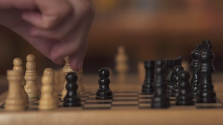 Chess board in detail during a game