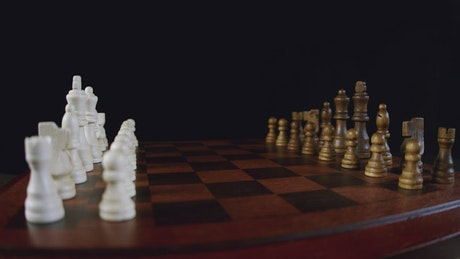 Chess pieces lined up on a board