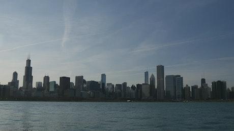 Chicago city skyline sunset