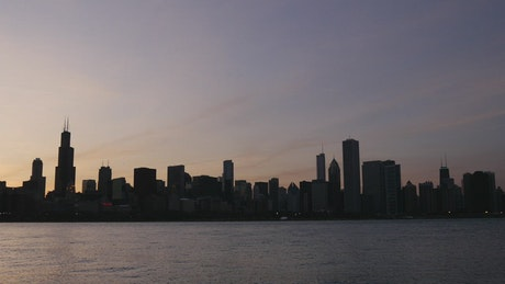 Chicago skyline in the sunset