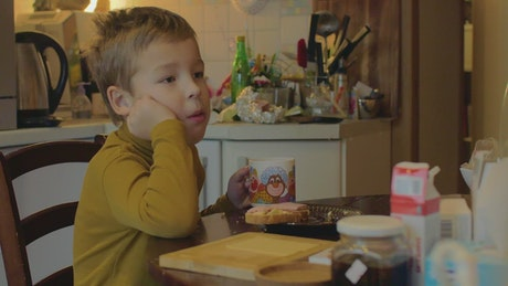Child eating lunch at home