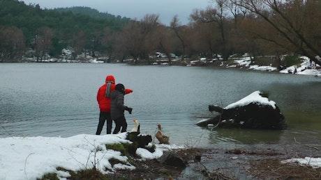 Children feeding ducks on a lake in winter