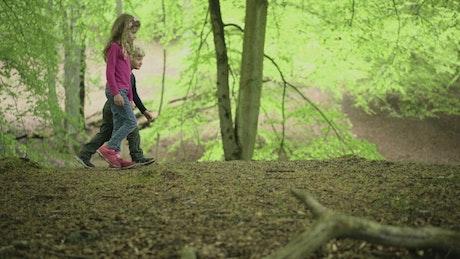 Children walking through a forest