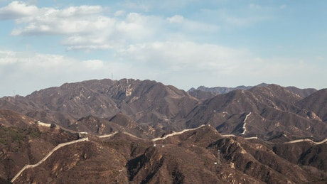 Chinese great wall in the mountains