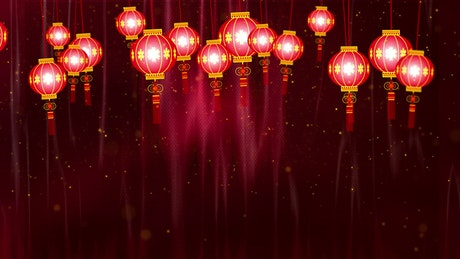 Chinese Lantern Lights hanging on a red background