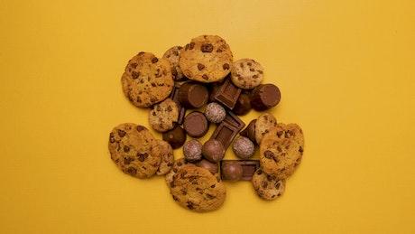 Chocolate presentation, stop motion background