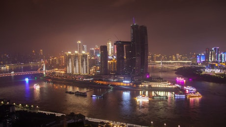 Chongqing city lights and ferries traffic