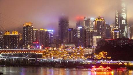 Chongqing flashing cityscape on a cloudy day