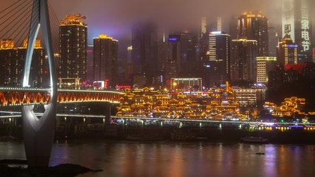 Chongqing skyline at night on a cloudy day