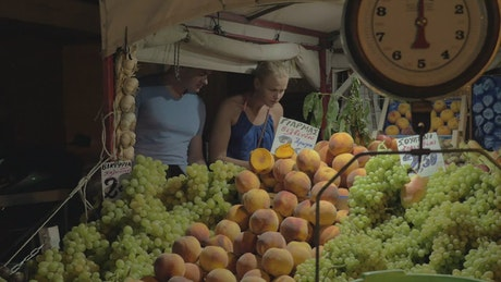 Choosing vegetables at a market