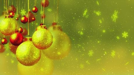 Christmas balls filled with golden glitter
