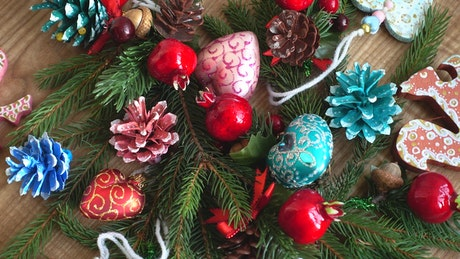 Christmas decorations and hearts