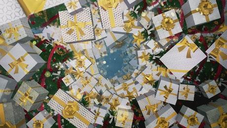 Christmas gifts floating, Christmas concept