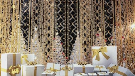 Christmas presents and white Christmas trees