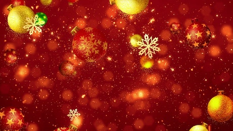 Christmas spheres and snowflakes on red background