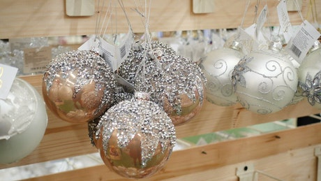 Christmas spheres decoration on the shelves