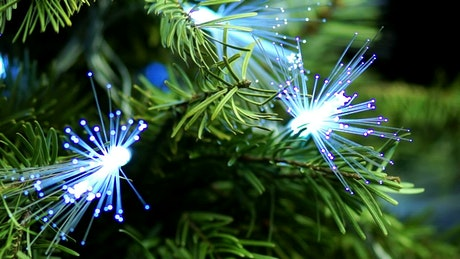 Christmas tree decorated with optic fiber