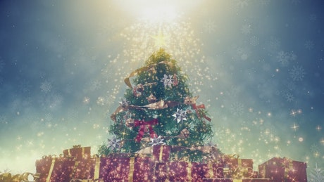 Christmas tree with a very bright star