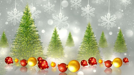 Christmas trees and spheres, animation