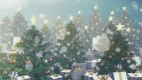 Christmas trees with gifts in white boxes, 3D