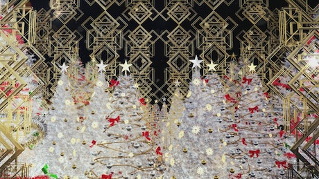 Christmas Trees with Gold Figures and Ornaments