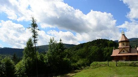 Church between forest hills