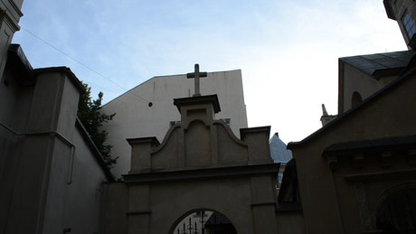 Church building with a cross