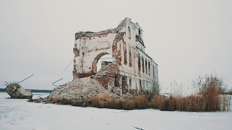 Church ruins covered in snow