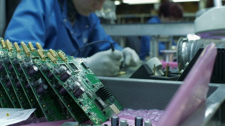 Circuit boards in the assembly line