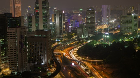 City and traffic in Kuala Lumpur at night