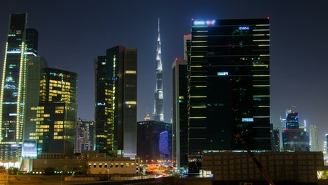 City buildings and Burj Khalifa in background