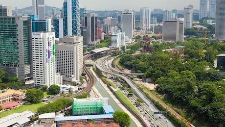 City buildings and traffic in Kuala Lumpur