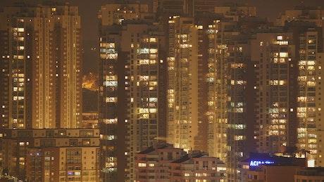 City buildings lights landscape