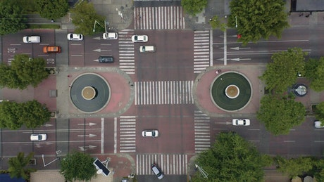 City busy traffic intersection, time-lapse