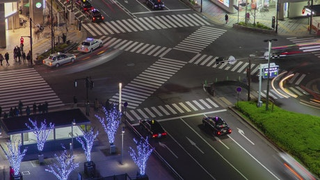 City crossroad and traffic in Kyoto