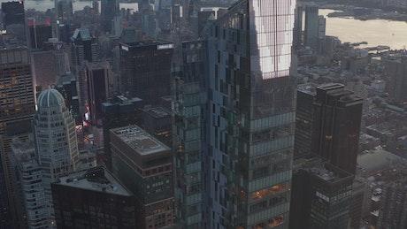 City full of office buildings, aerial shot