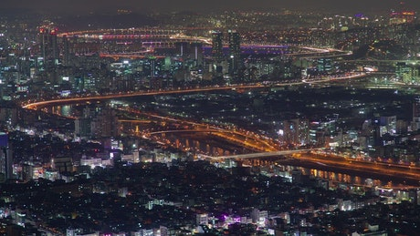 City landscape of Seoul at night