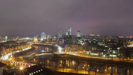 City lights and traffic