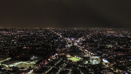 City lights at night aerial shot